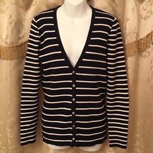 Lauren Ralph Lauren Blue & White Striped Sweater